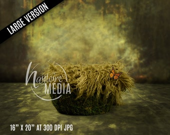 Newborn Baby Toddler Child Grass Moss Bed Basket - Portrait Digital Backdrop - Photography Background - Basket Photo Prop - 16 x 20 JPG