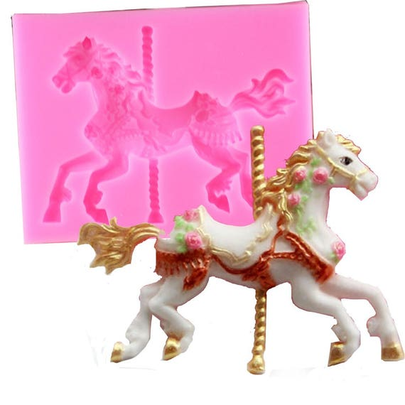 3d carousel horse mould silicone fondant cake molds for 3d printer cake decoration