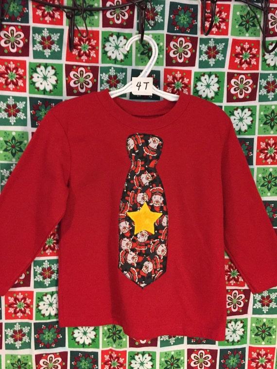 Toddler boy's Santa tie appliqué t-shirt  SALE
