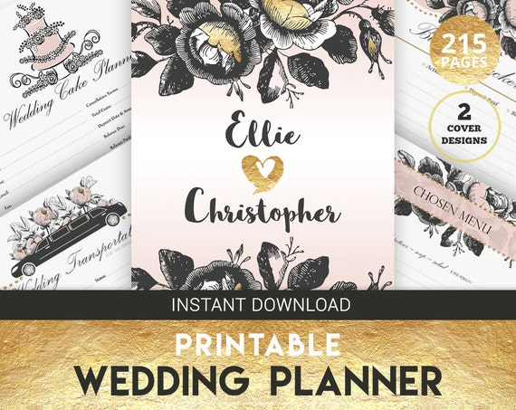 Printable Wedding Planner Binder Planning A Rustic: Wedding Binder Wedding Planner Organizer Pink & Gold