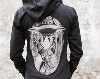 sphynx cat women's hoodie, cat sweatshirt, alien cat womans zip hoodie, steampunk clothing, vegan clothing, cat lover gift, occult clothing
