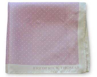 Frederick Thomas lilac purple and white pin spotted pocket square with white edging FT3357