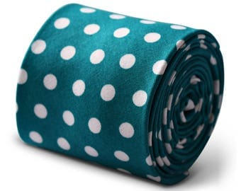 Frederick Thomas 100% cotton tie in teal dark turquoise green and white polka spot design  FT3388
