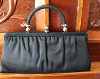 Black Satin Evening Bag Clutch Purse Fold Down Handle 50s Formal Bag