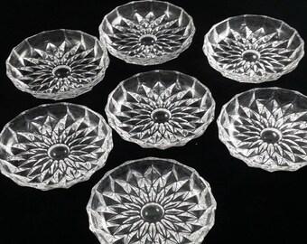Vintage Glass Coasters, Vintage Glass Coaster Set, Clear Glass Coaster Set. Coasters, Seven Vintage Cut Glass Coasters,  Cut Glass Coaster