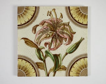Antique 1880s Corn Bros  Aesthetic Movement lily pottery tile
