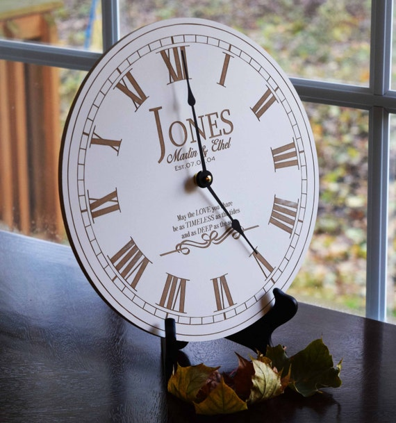 Wedding Clock Gift: Personalized Engraved Clock Unique Wedding By