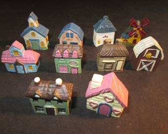 "10 miniature painted resin 1"" houses,barns,church,wind mill,buildings, for crafts, dioramas,models, etc, vintage stock,set B"