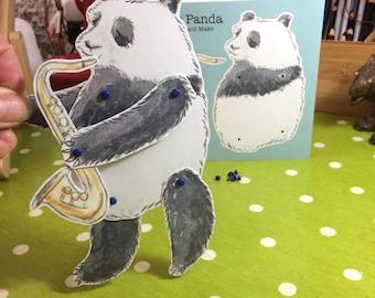 Jazz Panda Cut Out & Make Poseable Figure Greetings Card