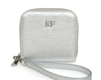 Leather Wallet, Silver Leather Womens Wallet, Women leather wallet, Zipper wallet, Clutch wallet, Wallet for her KF-983