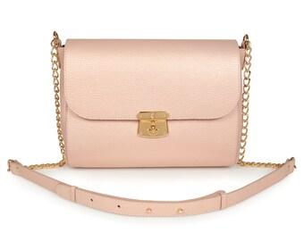 Leather Cross body Bag, Beige Leather Shoulder Bag, Women's Leather Crossbody Bag, Leather bag KF-931