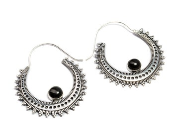 White Brass Black Onyx Gemstone Hoop Earrings Tribal Earrings Mandala Jewellery Free UK Delivery Gift Boxed WB52