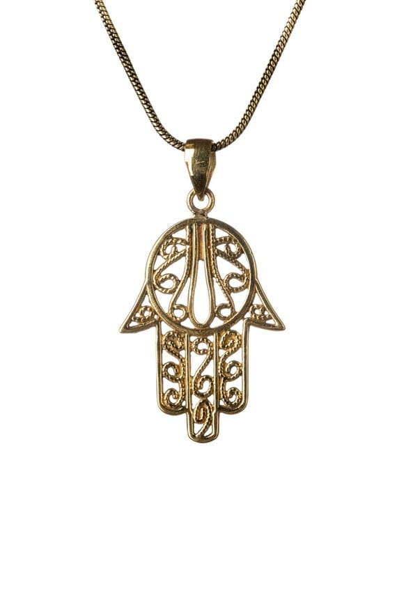 Hamsa Hand Of Fatima Brass Necklace Protection Hand Evil Eye jewellery  Handmade Free UK delivery BP1
