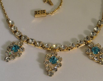 Vintage Rhinestone Necklace, Blue and Clear Rhinestones in Gold Tone