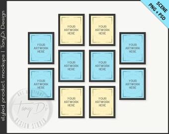 Set of 10 White & Black Frame Mockup | 4 PNG scene | 8x10 Empty Frame on White Wall Styled Mockup W23 | Portrait Landscape Frame