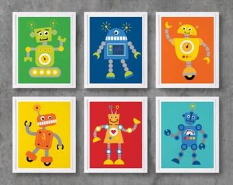 Robot Printable Art, Robots Digital Printables, Nursery Print Downloadable Digital Art Poster Print, Baby Boy Room Decor / INSTANT DOWNLOAD