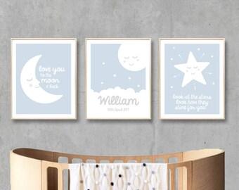 Nursery Printable Name Art Prints, Digital Moon Stars Love, Custom Name Nursery Art Print, Baby Boy Nursery Printable / INSTANT DOWNLOAD