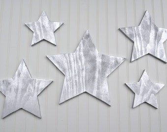 Wooden Stars 5 Piece Set Wall Wood Art Decor Christmas Holiday Xmas