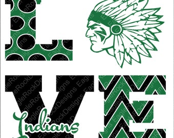 Love Indians| SVG| DXF| EPS| Png| Cut File| Indians| Cheer| Silhouette| Cricut| Vector File| Instant Download
