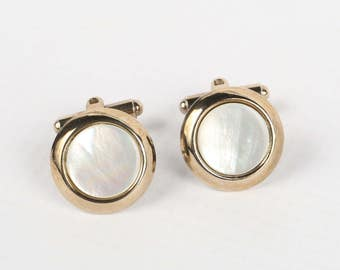 1950's-60's Mother Of Pearl Gold Tone Drop Back Border Toggle Cufflinks, Excellent VTG Cond.