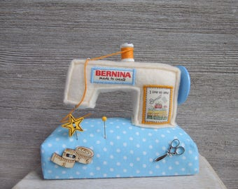 Bernina Sewing machine Handmade Pincushion Miniature Unique Handcraft Needle Decor Beige Blue Spot Gift