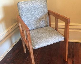 Vintage Wood Children's Chair/Wood and Vinyl Kid's Chair