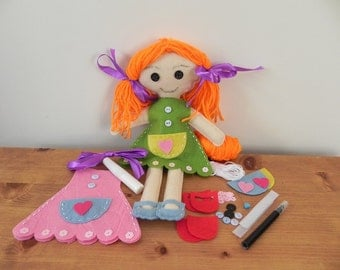 Kids craft kit - sew your own ragdoll kit - kids learn to sew kit