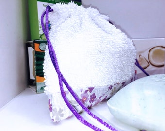 Soap Sack, Purple Floral Washcloth Pouch, Soap on a Rope, Soap Saver Bag