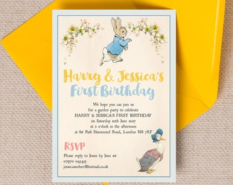Personalised Peter Rabbit & Jemima Puddleduck Beatrix Potter Kids Party Invitation Cards