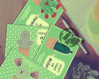 Cute Cacti with Quotes Original Postcards
