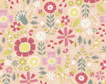 SALE!! 1 Yard Golidlocks by Jill Howarth for Riley Blake Designs- 5711 Coral Floral