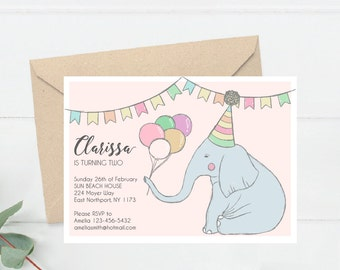 Toddler Birthday Invitation, Cute Elephant Party Invite Printable, Hand Drawn Baby Bday Invite, First Birthday Invite Printable  (B5.Bday)