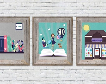 Girl Nursery Decor, Girl Nursery Prints, Girl Nursery Wall Art 8x10 Storybook Nursery Digital Prints   Instant Download Set of Three