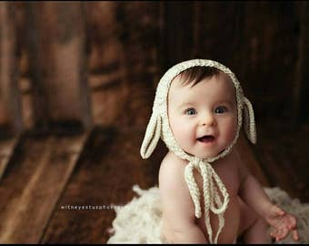 Knit  Baby Lamb Bonnet, Baby Sheep Hat, Newborn Bonnet in Cream Soft Cotton Wool, Newborn Photo Prop.