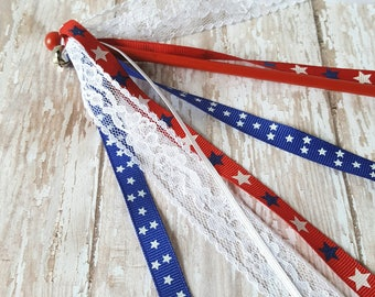 Patriotic Parade Wand - Patriotic Ribbon Wand - 4th of July Parade Wand - Flag Wand - Parade Waving - Red White and Blue -4th of July Outfit