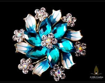 Beautiful enamel rhinestones crystal flower brooch