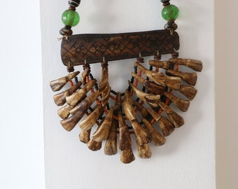 buffalo tooth necklace/tribal jewelry/tribal home decor/bohemian home design