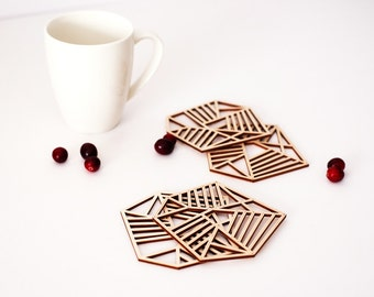 Geometric wood coasters,modern design, handmade drink coasters with unique pattern, 4x4''