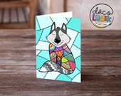 colorful wolf greeting card, wolf birthday card, cute greeting card, cute wolf, anniversary card, patchwork wolf, wolf lover