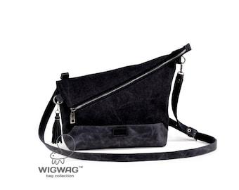 Women's bag, canvas leather bag, convertible bag, oblique zipper bag, crossbody bag, shoulder bag, women's crossbody, small bag, canvas bag