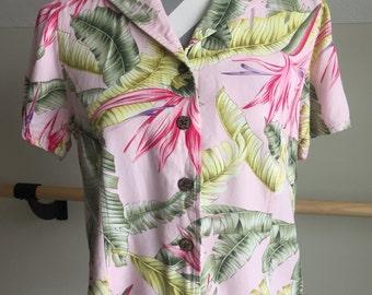 Pink Hawaiian Shirt Size Medium
