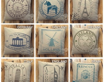 Travel Stamp Pillow Cover | Natural Canvas or Lined Burlap | 12x12, 16x16, 20x20 | 16 Ink Color Options