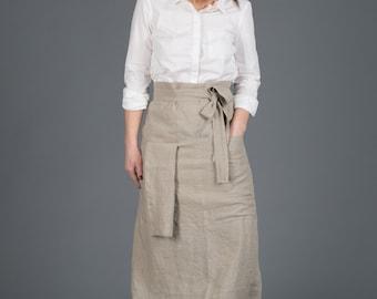 Grey Linen pinafore apron, Linen Woman Apron,Washed Linen Apron,  Mens and Women Chef Half Cafe Wrap Apron