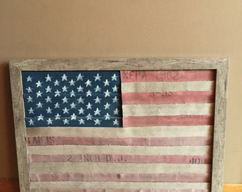 American Flag made from Fire Hose Wooden Frame