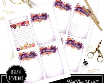 Royalty Undated Week on Two Page (WO2P) and Lined Notes HALF PAGE / A5  Designed Printable Planner Inserts and Printable Designed Cover