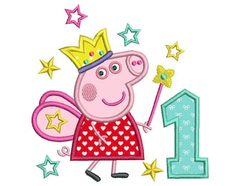 Fairy Pig 1st Birthday Applique Machine Embroidery Design, Princess Peppa, First Birthday, Number 1 Applique, Instant Download, No: SA510-18