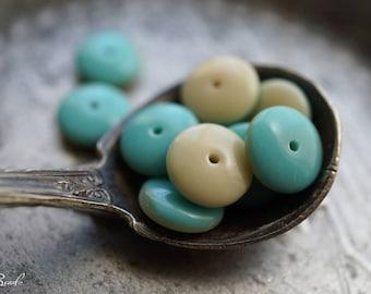 Ivory Aqua, Disc Beads, Czech Beads, Beads, N2423
