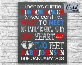 PRINTABLE Little Firecracker / Family Growing By One Heart And Two Feet / Chalkboard Pregnancy Baby Announcement / Photo Prop / Card / JPEG