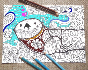 otter coloring adults colouring kids totem animal doodle intricate doodling sea otter download colouring animal printable lasoffittadiste