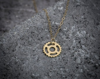 Gear necklace, steampunk necklace, tiny gear pendant, gold gear charm, unique necklace, cog necklace, goldfilled necklace, steampunk jewelry